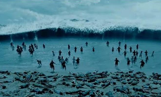 Шокирующая съемка цунами от первого лица