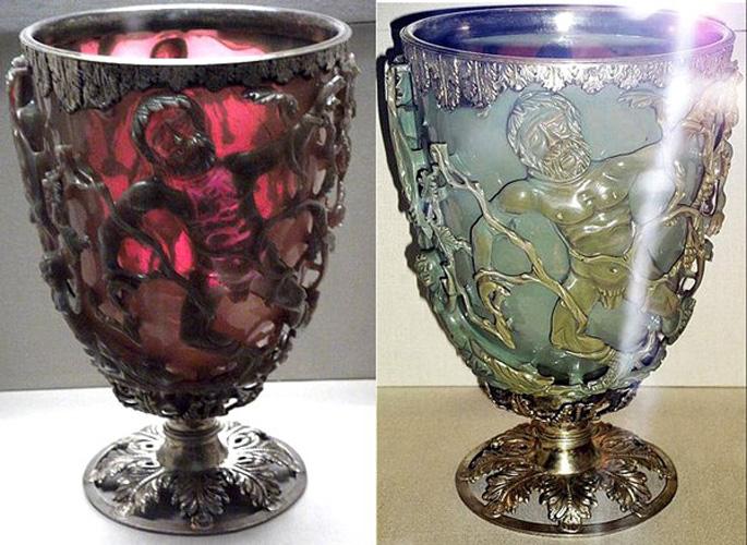 Кубок Ликурга Британский музей Уникальный кубок способен менять цвет в зависимости от освещения и напитка. При тщательном изучении артефакта оказалось, что стекло насыщено наночастицами серебра и золота. Нанотехнологии в античном мире? Невероятно, но факт налицо.
