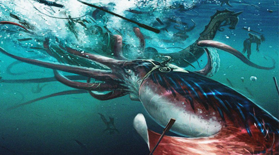 Giant squid For a long time, giant squid was considered just an invention of sailors.  However, the first live squid was shot on camera in July 2012: it reached 13 meters in length and weighed about half a ton.