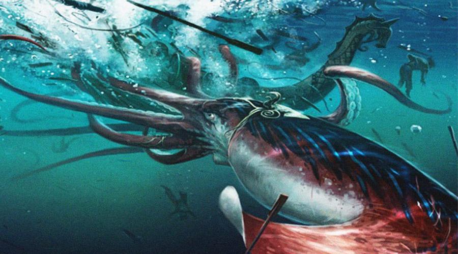 Гигантский кальмар Долгое время гигантские кальмары считались всего лишь выдумкой матросов. Однако, первый живой кальмар был снят на камеру в июле 2012 года: он достигал 13 метров в длину и весил около полутонны.