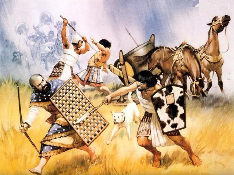 Регулярная армия и колесницы В какой-то момент войско Египта превратилось в регулярную призывную армию. Молодежь должна была отслужить определенный срок, после чего люди возвращались к мирной жизни. Значительное усиление армии произошло за счет использования наемников — чаще всего египтяне использовали нубийцев. В середине XVII века до нашей эры власть в Нижнем Египте захватили гиксосы, от которых египтяне узнали о боевых колесницах.