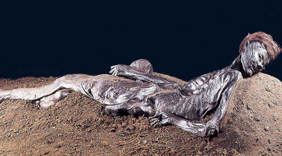 Человек из Гроболла Уникальная находка досталась группе историков из Штутгарта. В 1998 году они обнаружили прекрасно сохранившиеся останки человека глубоко в болоте. Причина смерти несчастного была понятна сразу: жрецы вспороли ему горло от уха до уха. А вот как мумия сохранила прическу, волосы и зубы ученые не понимают и сегодня.