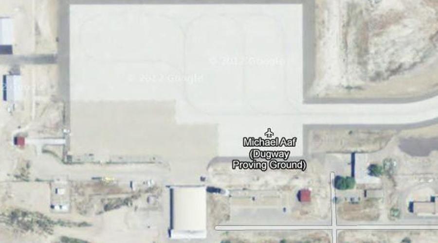 Здание Майкл Ааф Несмотря на пиктограмму самолета, на самом деле здесь (штат Юта, США) располагается чуть ли не самое секретное хранилище оружия во всей стране. Это военный полигон, где проходят испытания биологического и химического оружия.