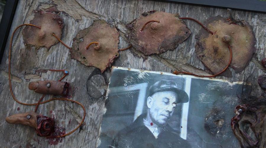 Трофеи каннибала Самые мрачные трофеи убийца хранил в отдельной шкатулке. Девять женских влагалищ, ремни из женских сосков и лицо пропавшей год назад официантки Мэри Хоган. Из него Эд Гейн сделал маску. Вернис Уорден, обезглавленная, висела в подвале на крюке для разделки туш.