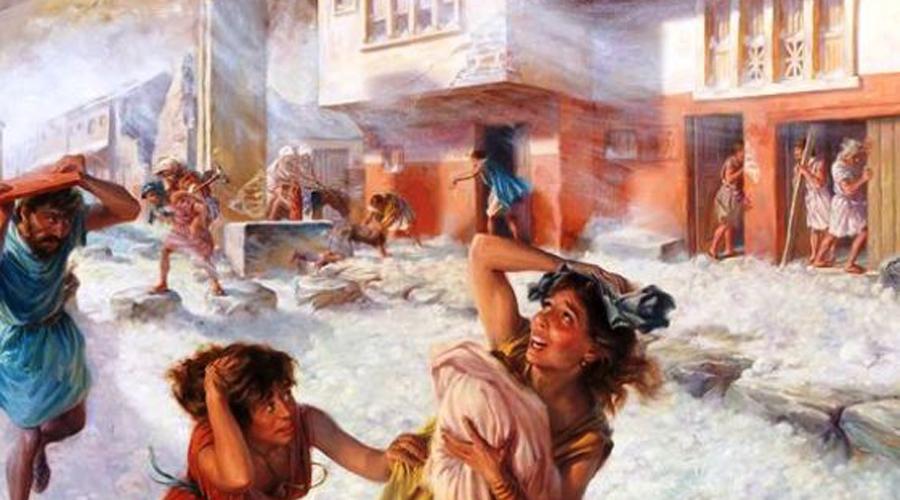 Ленивые горожане При раскопках археологи выяснили, что большей части жителей города удалось спастись. Похоже, люди догадались о грядущем извержении за несколько часов: самые разумные побросали свой скарб и поспешили убраться от опасной горы подальше. Около двух с половиной тысяч человек видимо до последнего надеялись, что пронесет.