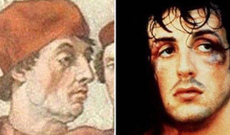 Сильвестр Сталлоне/Григорий IX Знаменитый Рокки (начинавший, между прочим, как актер взрослого кино) как две капли воды похож на папу Григория IX. Правда, совсем не столь свят.