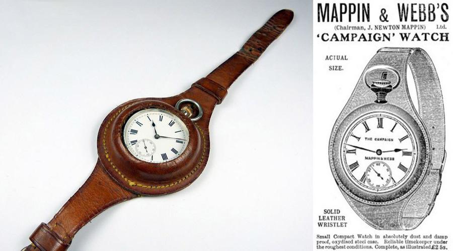 Наручные часы Солдаты кровавой англо-бурской войны первыми додумались крепить часы к запястью — так их было проще сохранить в бою. Спустя годы компания Mappin&Webb использовала этот опыт для производства первых в мире наручных часов, предназначенных для армии.
