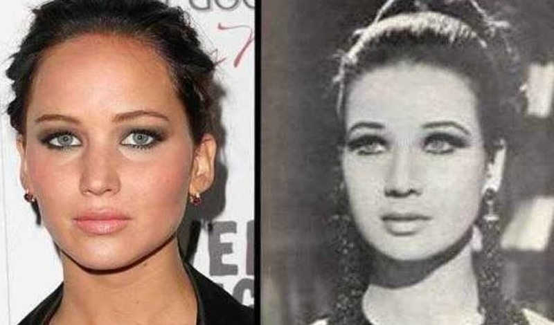 Дженнифер Лоуренс/Зубайда Тарват Даже жизнь этих девушек очень схожа. Обе актрисы (правда, Зубайда блистала в Египте, а не в Голливуде), обе красотки и обе прославились сильным характером.