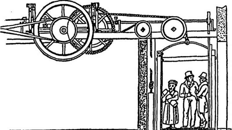 Подъемное кресло Проще говоря — лифт. Движение кресла обеспечивали два крепких мужчины, по очереди передвигающих гайки по винтам. Сам Кулибин описывал свое изобретение так: «устройство должно подниматься и опускаться по перпендикулярной линии, но безо всякого притом опасного воображения; ибо вокруг тех столбов извивающиеся линии винтов утвердятся наикрепчайшим образом и составят некоторый род горы или фундаментальной лестницы, на чем вся тяжесть означенного корпуса, опираясь вверх и вниз с перевесом гирь для легкости, движется на колесах». Первое и единственное кресло было установлено в Зимнем дворце Екатерины II.
