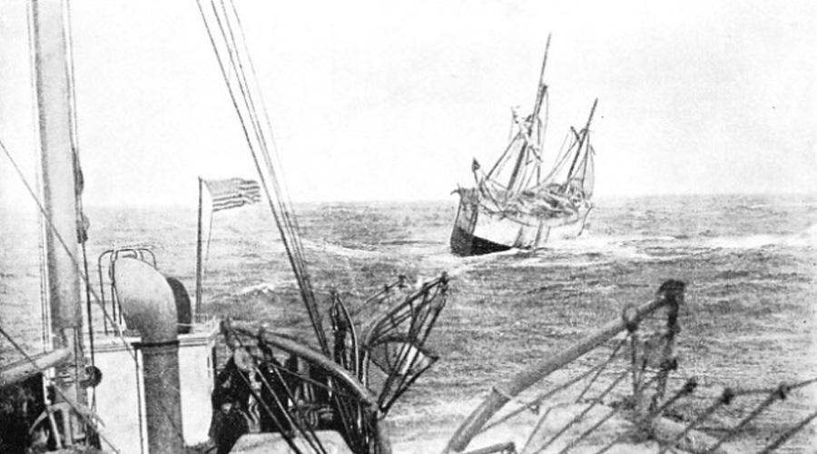 Эллен Остин Капитан «Эллен Остин» заметил неизвестную шхуну в Центральной Атлантике и решил высадить на ее борт часть команды. На борту странного корабля обнаружился ценный груз. Оба судна двинулись в Бостон, но до гавани дошло только одно. Призрачный корабль растворился в воздухе со всей командой.