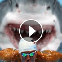 Смотрите, чем закончилась смертельная гонка белой акулы и лучшего пловца мира