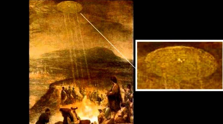 Картина «Крещение Христа» Знаменитое полотно «Крещение Христа» написал в 1710 году Аерт де Гельдер, один из учеников самого Рембрандта. На картине изображена сцена из Библии, где Иоанн Креститель крестит Иисуса в реке Иордан. Религиозных полотен писалось в те времена множество, но работа де Гельдера серьезно выделялась: на заднем плане мастер изобразил самую настоящую летающую тарелку. Почему это важно? Ну, де Гельдер не только считался одним из самых уважаемых художников того периода, но и был одним из немногих людей, имеющих редкий доступ к архивам Ватикана.