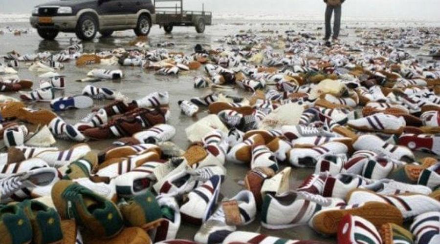 Кроссовки Аналогичная ситуация сложилась в 2007 году. С борта танкера «Северный» смыло контейнер, наполненный новенькими кроссовками Reebok. Весь груз прибило к берегам Нидерландов, где в этих кроссовках бегают и по сей день.