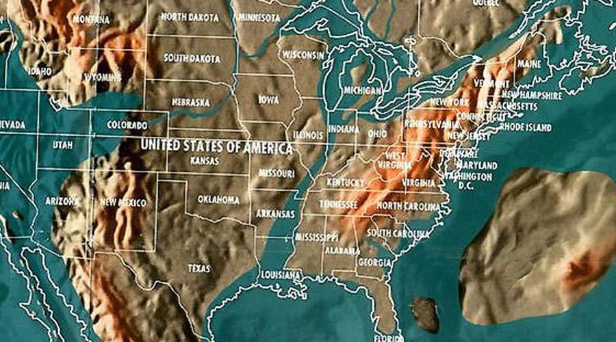 Северная Америка Поскольку североамериканская плита сдвинется, Западное побережье также переместится в сторону востока, к Небраске, Вайомингу и Колорадо. Все прибрежные районы от штата Мэн до Флориды будут захвачены водой и людям придется уйти в глубь страны на многие километры. Большинство прибрежных районов Мексики будут затоплены. Центральная Америка утонет, останется несколько островов.