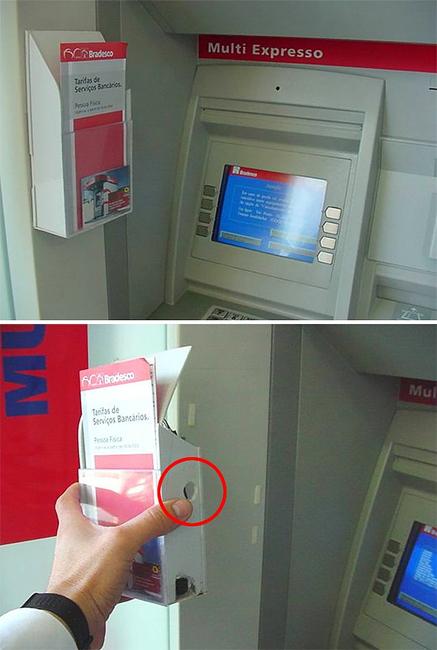 Видеокамеры Миниатюрные камеры принесли преступникам миллионы долларов. Внимательно осмотрите банкомат — ничего не смущает? Любые странные накладки и необычные пластиковые выступы могут скрывать видеокамеру.