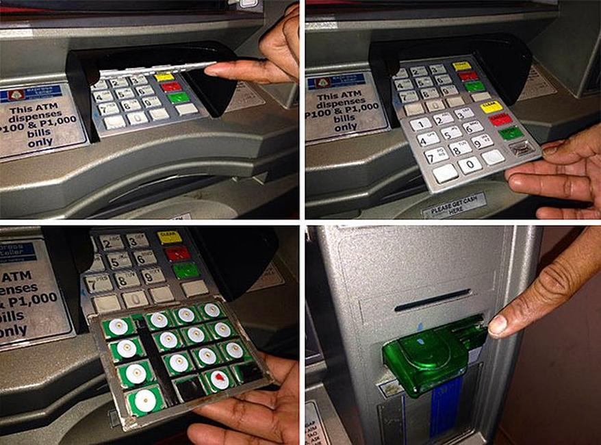 Накладка на клавиатуру Тонкую фальшивую накладку на клавиатуре банкомата заметить будет очень сложно. Обычно преступники работают парой: дождавшись, пока жертва воспользуется банкоматом (фальшивая клавиатура запомнит введенный пин-код), один снимает накладку, второй же следит за жертвой и в удобный момент крадет саму карту.