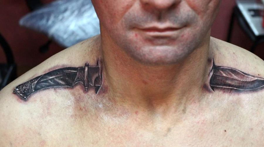 Нож в шее Сейчас такие рисунки довольно распространены. Однако всего несколько лет назад обладателя татуировки вполне могли за рисунок «спросить», поскольку означал он убийство, совершенное в тюрьме.