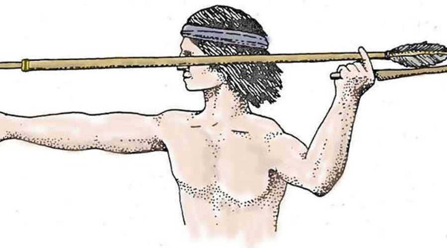 Атлатль Проще говоря — палка-металка. Навершие посоха позволяло крепить дротик, который летел очень далеко и со значительной скоростью благодаря более длинному плечу силы. Именно этим орудием пользовался человек до появления лука и стрел.