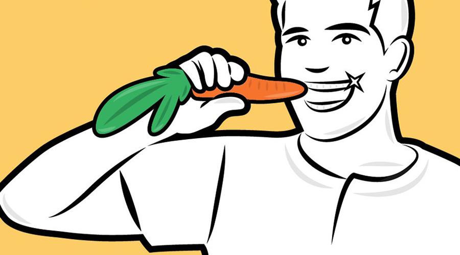 Крепкие зубы Свежие, хрустящие фрукты и овощи отлично справляются с укреплением и очисткой зубов. К примеру, яблоки и морковь помогают снять пятна, которые возникают на зубах любителей никотина и кофе. Кроме того, в яблоках и в клубнике содержится яблочная кислота, естественным образом отбеливающая эмаль.