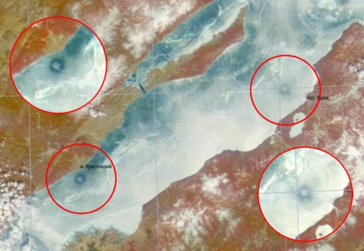 Ледовые кольца Кольца, диаметр которых достигает нескольких километров, образовывались на льду Байкала в 2003, 2005, 2008 и 2009 годах. Увидеть их можно только из космоса. Скорее всего, в их появлении виноваты выбросы метана, но это не точно.