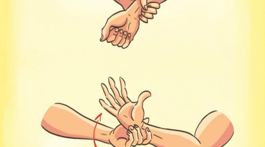 Вырываем руку Очень часто противник стремится зафиксировать вашу руку. Не стойте столбом, даже если разговор все еще идет — нападение уже началось. Поворачивайте руку в сторону большого пальца злоумышленника. Вы должны сделать это быстрым, резким рывком. В идеале будет одновременно нанести удар ногой по голени или в пах.
