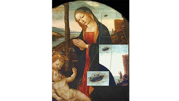 Мадонна и НЛО Вообще-то, картина называется «Мадонна со святым Джованнино», а написал ее Доменико Гирландайо в XV веке. Современные исследователи именуют полотно не иначе, как «Мадонна с пришельцами», поскольку на заднем плане и впрямь отчетливо видны неопознанные летающие объекты.