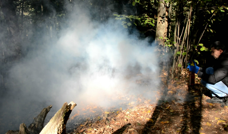 Крик о помощи В густом лесу криков заблудившегося человека почти не слышно. Подайте сигнал о бедствии другим способом: возьмите из аптечки (кто уходит в долгий поход без аптечки!) таблетку гидроперита и таблетку анальгина. Смешайте в пропорции 60% на 40% и подожгите. Дыма будет столько, что вас точно заметят.