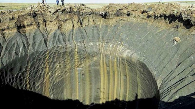 Метановый пузырь Вечномерзлые грунты известны повышенным содержанием метана, который собирается в верхних слоях в форме реликтовых газогидратов. При оттаивании этих слоев метан высвобождается и поднимается к поверхности по трещинам в земной коре. Но толща промерзлой почвы все еще слишком велика: давление сжатого газа приводит к образованию своеобразного пузыря, хорошо заметного со спутниковых снимков. Так было и с Ямальской воронкой.