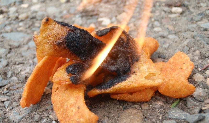 Огонь из еды Никак не загорается отсыревшая растопка? Без проблем, тут вам помогут самые обычные чипсы. Вкусные снэки обычно пропитаны достаточным количеством масла и прекрасно горят: воспользуйтесь этим, чтобы дать растопке время просохнуть.