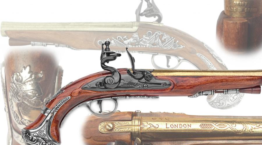 Пистолеты Джорджа Вашингтона Еще одна пара кремниевых кавалерийских пистолетов ушла с аукциона почти за два миллиона долларов. В свое время ими владел Джордж Вашингтон, а затем и 7-ой президент США, Джексон. Сейчас пистолеты хранятся в музее Пенсильвании.