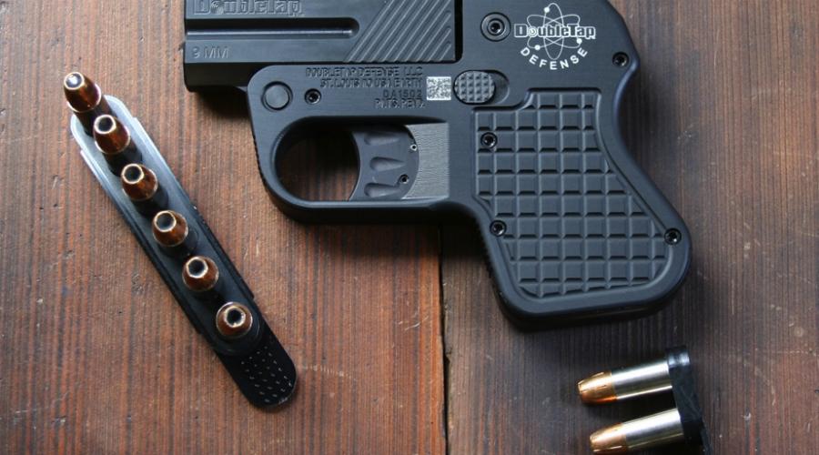 DoubleTap Pocket Pistol Самый тонкий пистолет на современном рынке. Толщина DoubleTap составляет всего лишь 1,69 сантиметра, при длине в 13,98 сантиметров. Несмотря на скромные размеры, DoubleTap Pocket Pistol — убойное оружие, стреляющее патронами калибра 9 мм.