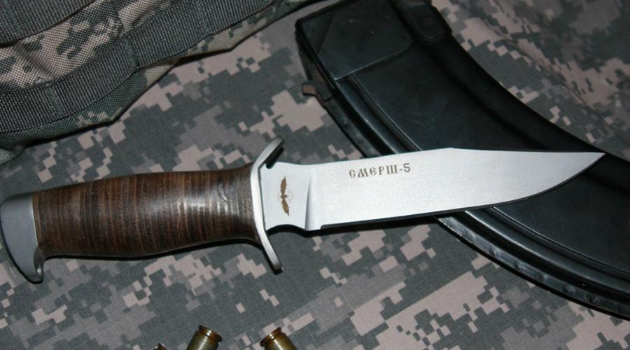 Смерш-5 Вообще-то, ножи такого форм-фактора использовались еще во времена Второй мировой войны. Сегодня же вариации «Смерш-5» стоят на вооружении спецназа ГРУ, ФСБ и силовых спецподразделений МВД.