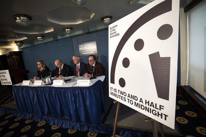 Scientisis Move Doomsday Clock to Two and a Half Minutes to Midnight