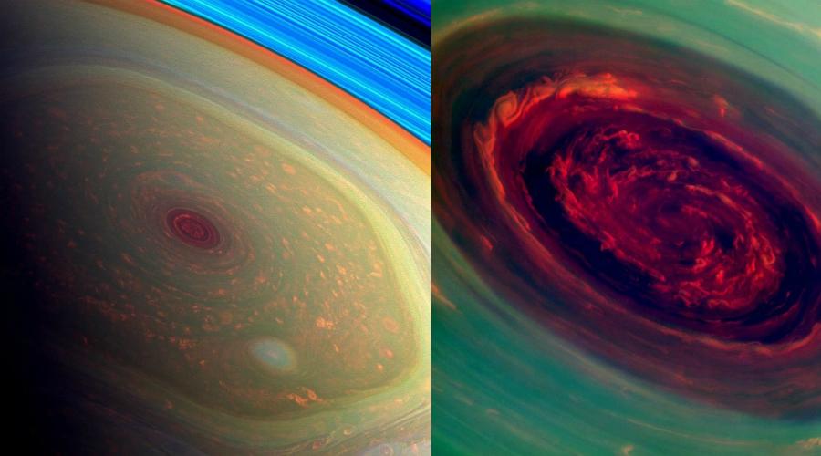 Роза на Сатурне Диаметр тайфуна, который захватил северный полюс Сатурна в 2013 году, достигал двух тысяч километров. Случись что-то подобное на Земле и нашей цивилизации пришел бы конец. Ученые до сих пор не могут понять, почему ураган со скоростью в 540 км/ч все время оставался на одном и том же месте.