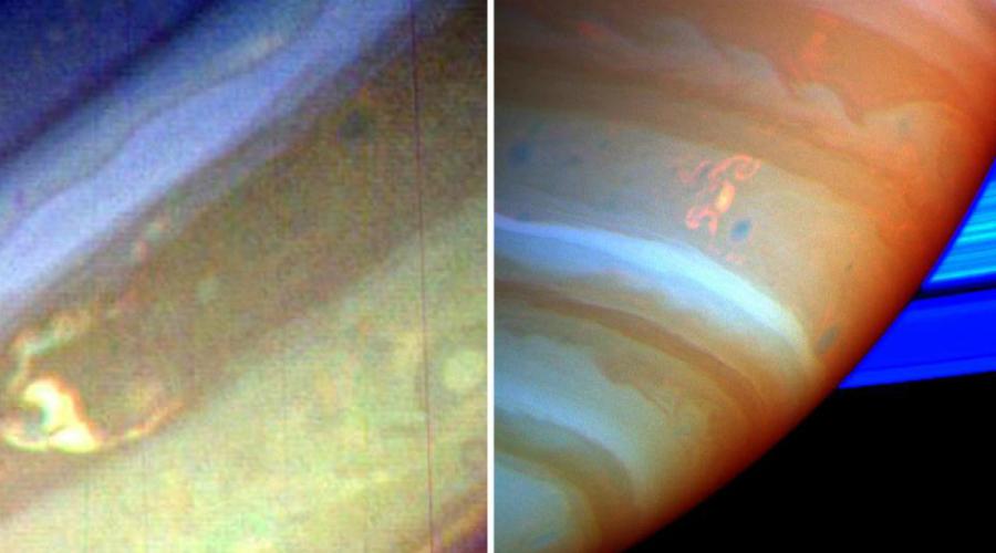 Шторма Дракона на Сатурне Миссия «Кассини» сделала снимки этого невероятного шторма в 2004 году. Так называемый «Драконий Шторм» это буря протяженностью целых 3200 километров. Внутри бьют молнии в 1000 раз мощнее, чем на Земле.