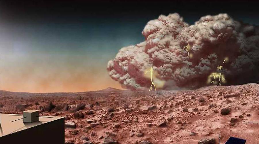 Редкие марсианские спиральные бури В 1999 году над марсианскими полярными ледяными шапками наблюдался колоссальный шторм. Несмотря на то, что он был в четыре раза больше Московской области и охватывал весь северный полюс Марса, длился шторм всего один день. В дальнейшем астрономы выяснили: для красной планеты типичны все два таких циклона в год.