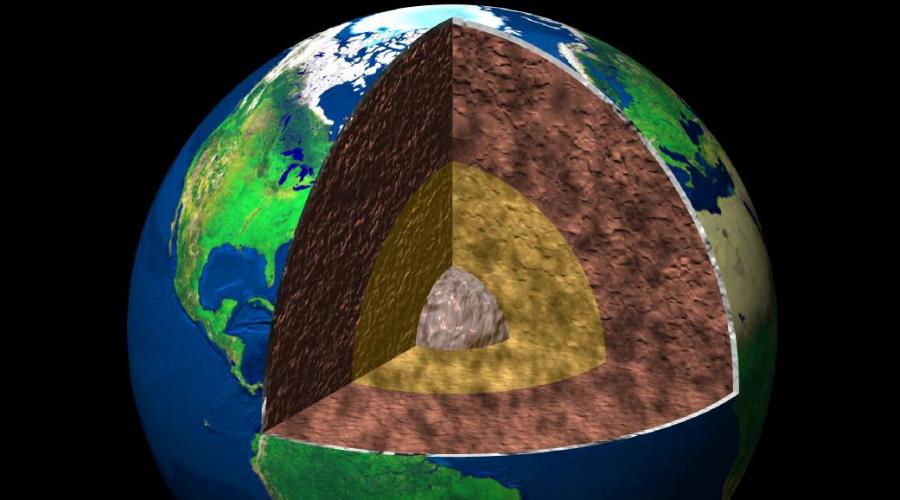 Внутреннее ядро Удивительно, но внутреннее ядро планеты сформировалось всего около 100 миллионов лет назад из микроскопического кристалла железа. Сегодня это ядро составляет 0,5% от массы Земли — это невероятно плотный шар из никеля и железа, поверхность которого раскалена так же, как и Солнце. Ученым никогда не удастся проникнуть на такую невероятную глубину, здесь настолько жестокие условия, что не выдвигается даже теоретических идей по созданию аппарата-проходчика. Посудите сами: что вообще может выдержать 6000 градусов Цельсия и давление в 3,5 миллиона атмосфер.