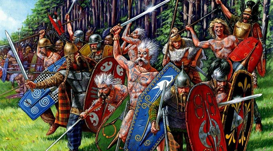 Кельты Кельты правили большей частью современной Франции, Бельгии и Англии. Даже Риму было чрезвычайно трудно завоевать кельтов. Почему? Жестокость. Варвары (по мнению тех же римлян) могли выйти на поле сражения вообще без одежды. Раскрашенные краской и кровью лица, свирепый нрав — кельты насаждали на своей территории культ насилия.