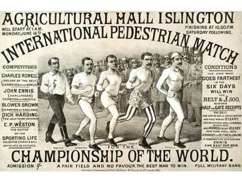 Битва пешеходов Спортивная ходьба сегодня — олимпийская дисциплина, но в 19-м веке соревнования пешеходов были спортом для всех желающих. Заходы устраивались в США и Европе, а самые отчаянные пешеходы могли преодолевать дистанции в более чем 100 километров.
