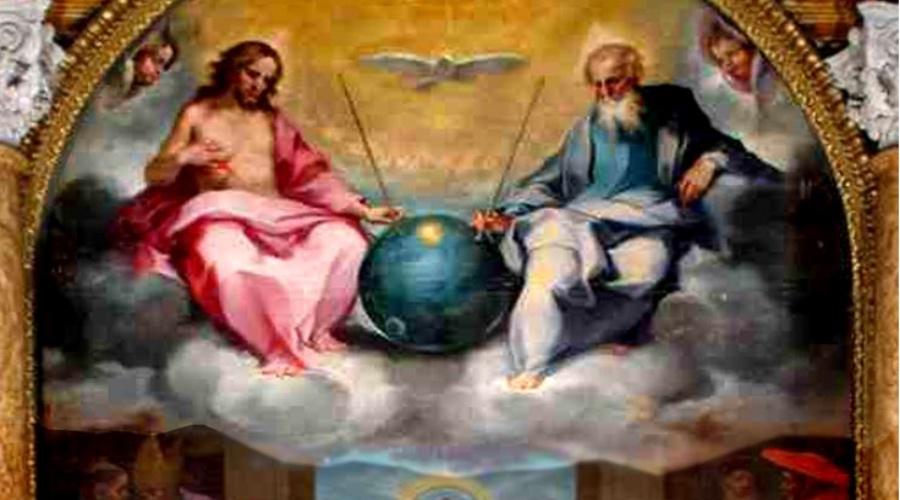Прославление Евхаристии Итальянский художник 16 века Вентура Салимбени создал одну из самых загадочных икон в истории. Она называется «Прославление Евхаристии» и представляет собой триптих, две из трех частей которого абсолютно традиционны. Они изображают святых у алтаря. Однако третья – верхняя часть со Святой Троицей также включает нечто, похожее на космический спутник. На полотне изображен сферический объект металлического цвета с телескопическими антеннами и странными огнями. Некоторые предпочитают считать это изображение доказательством внеземной жизни, другие же принимают это за изображение вселенной вроде глобуса, что вполне допустимо для той эпохи. Странные огни – это солнце и луна, а антенны – символы власти бога, вроде скипетра.