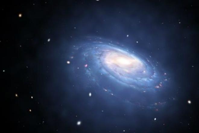 Синее свечение у краев — темная материя. В новой галактике ничего такого нет