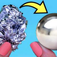 Как сделать металлический шар из фольги