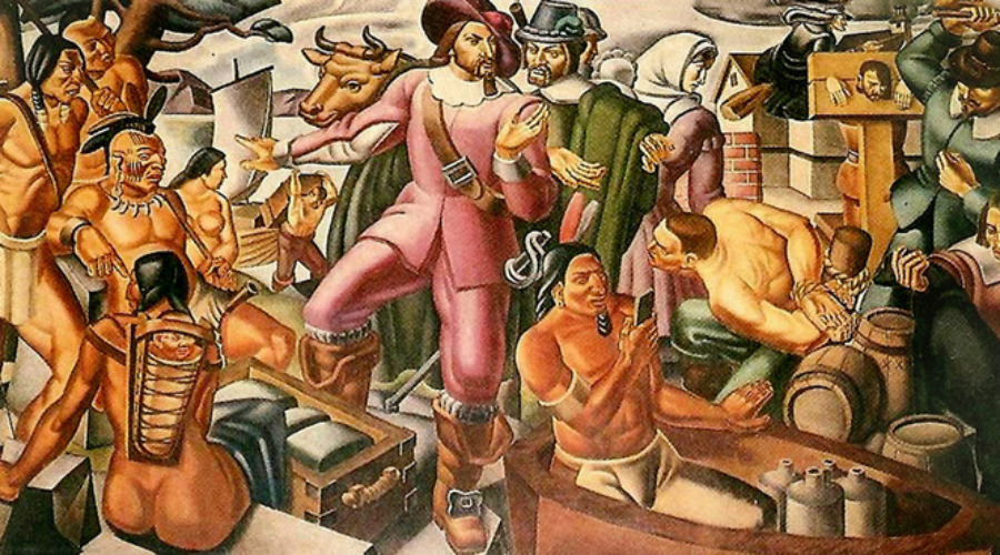 Индейцы и смартфон Умберто Романо написал картину «Мистер Пинчон и поселение Спрингфилда» в 1937 году. Художник показал историческую встречу индейцев и английских колонистов в XVII веке: присмотритесь внимательно к фигуре на первом плане — у человека в руках нечто, подозрительно напоминающее современный смартфон.