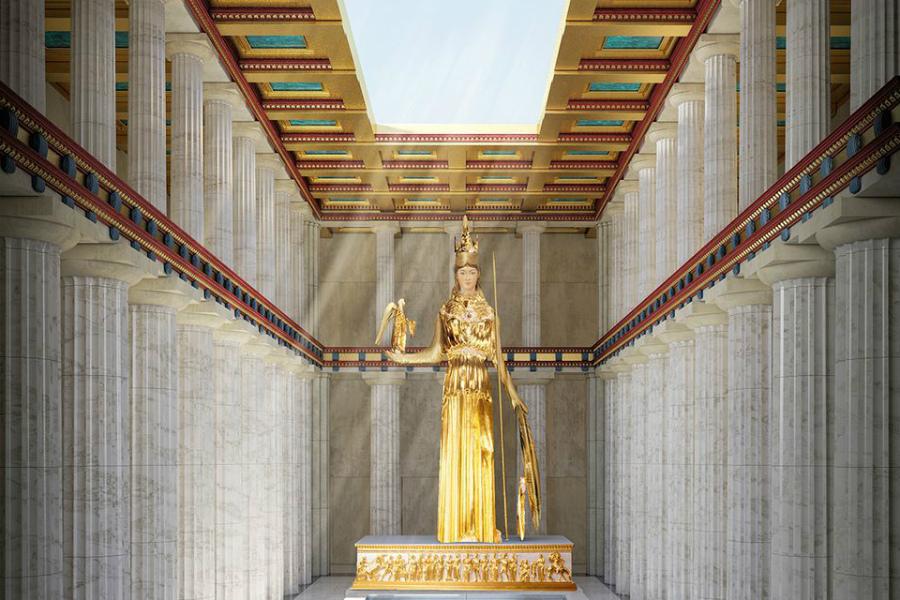 Парфенон Прошлое Само собой, в дни былой славы Парфенон поражал воображение. Центром внимания служила 12-метровая золотая статуя Афины: чтобы обеспечить необходимую влажность для сохранности драгоценных вставок из слоновьей кости, архитектор разместил рядом с монументом бассейн.