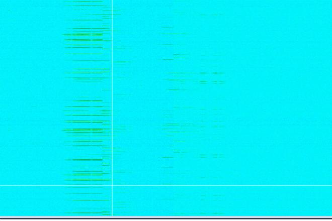 Излучение в 2,4 МГц, полосы на заднем фоне — работающий рядом роутер