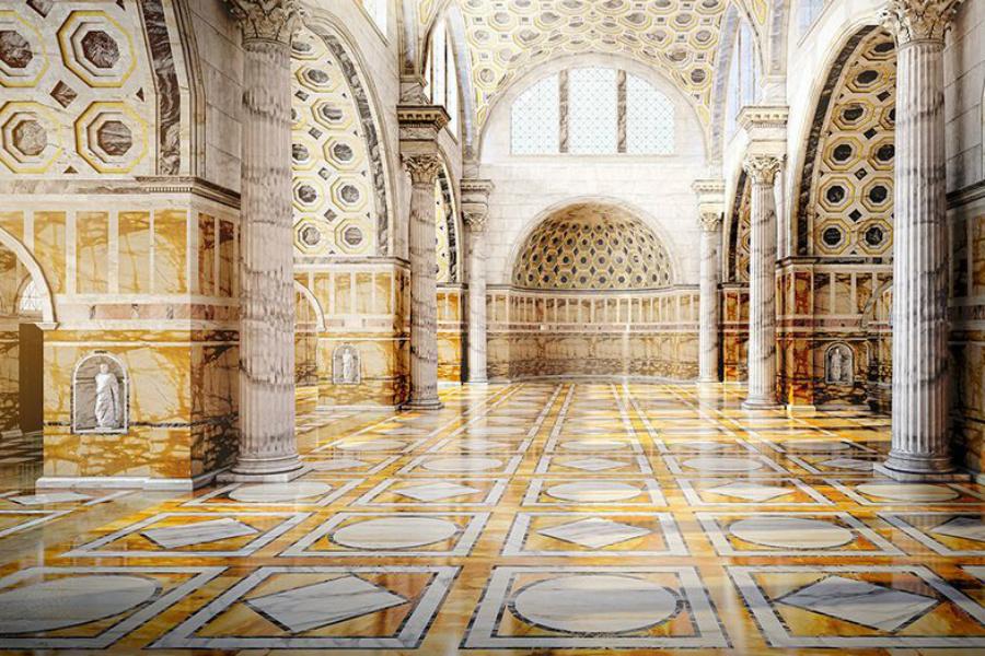 Базилика Максенция Прошлое В те времена стены великой Базилики украшали мраморные плиты. Здесь поклонялись богам, здесь же творили суд и заседали члены городского совета.