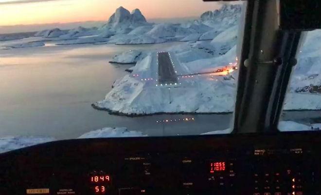 Посадка во льдах Гренладнии: видео из кабины пилота