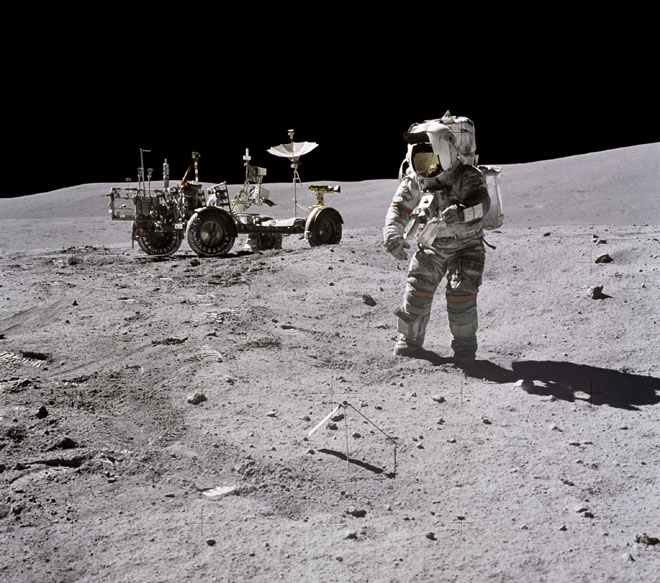 John young works on the lunar surface – Apollo 16, April 1972.